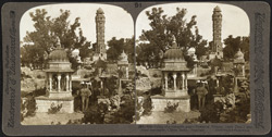 Relics of a romantic past - Tower of Victory (15th cent.) and royal cenotaphs, Chitor, India